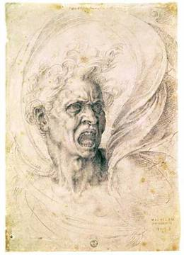 Anger - study of a man by Michelangelo